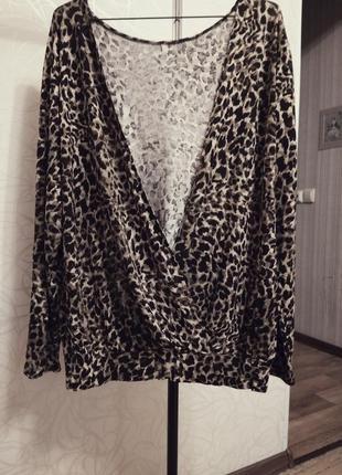 Трикотажная блуза с  напуском из трикотажа (х/б)леопардовый принт