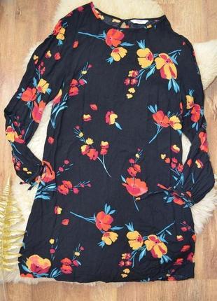Фирменное цветочное платье-мини трапеция  от papaya