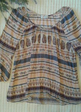 Вискозная легкая блуза  в стиле бохо от bershka,p.s
