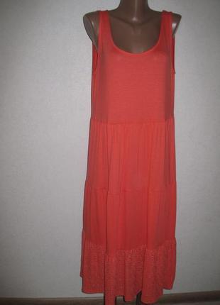 Яркое трикотажное платье f&f размер18