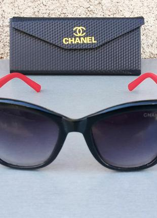 Chanel очки женские солнцезащитные черные с красными дужками