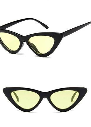 Стильные очки кошечки лисички с жёлтыми линзами