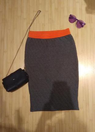 Стёганая юбка карандаш миди  футляр с завышенной талией