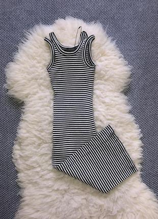 Платье миди длинное полоска рубчик резинка лапша по фигуре обтяжку