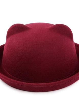 Фетровий капелюх жіночий казанок кішечка з вушками