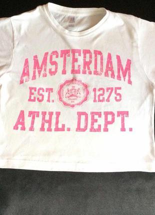 Белоснежная футболка с надписью фирменная atmosphere