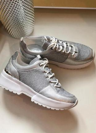 Кроссовки michael kors cosmo metallic knit and snake-embossed leather trainer