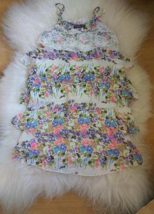 Сарафан платье с воланами и цветочным принтом