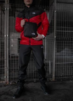 Комплект tnf куртка черно-красная + штаны tnf + барсетка tnf в подарок!