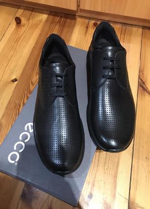 Мужские, шикарные, кожаные туфли ecco irving zm4371