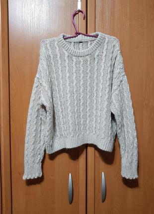 """Вязаный бежевый свитер оверсайз, свитер под """"шерсть"""", кофта"""