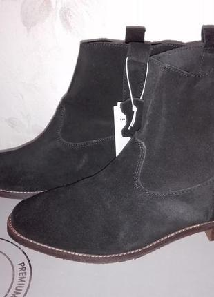 Шикарные деми ботинки h&m натуральный замш р. 38