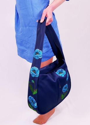 Синяя сумка с вышивкой цветы голубые весна 2021