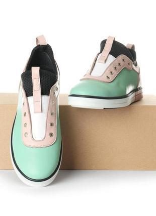Стильные женские кожаные нежные розово-зеленые кроссовки кеды без шнурков натуральная кожа