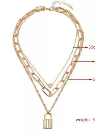 Крупные цепи ожерелье чокер колье с замком серебристое золотистое