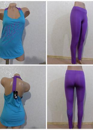 Костюм для фитнеса nike футболка и лосины размер 44-46