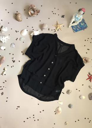Top shop черная шифоновая укороченная блуза