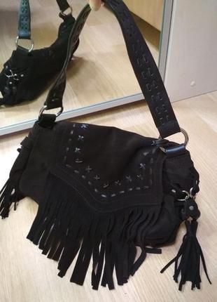 Замшевая шоколадная винтажная сумочка-багет next в стиле бохо