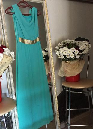 Платье шифоновое длинное в пол, красивые плечи летнее