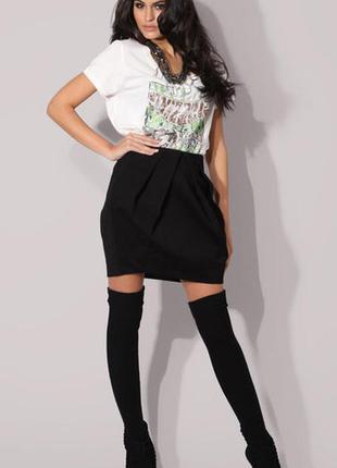 Черная классическая юбка тюльпан карандаш