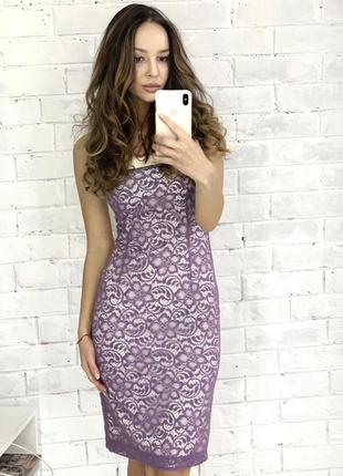 Платье вечернее миди фиолетовое