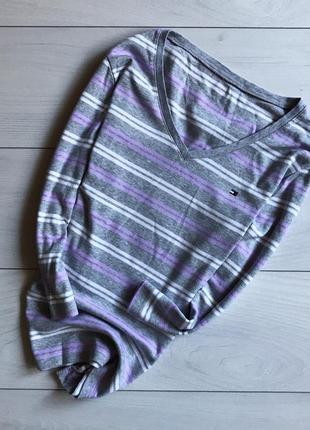 Кофта /реглан /свитер серый в полоску от tommy hilfiger