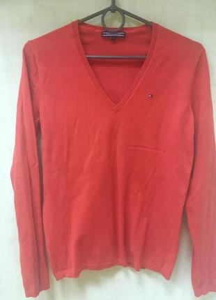 Красно-оранжевый пуловер (джемпер) tommy hilfiger