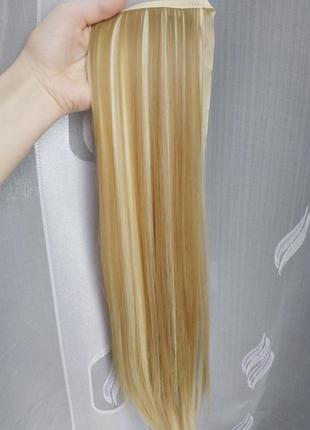 Хвост на ленте песочный блонд с мелированием