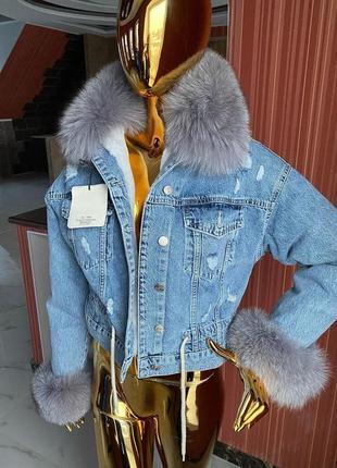 Женская джинсовка с песцом, джинсовая куртка с мехом, xs-l