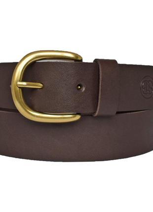 Ремень кожаный женский коричневый с золотой пряжкой для джинсов karmen