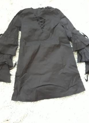 Хлопковое платье  воланы рюши шнуровка