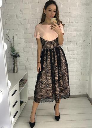 Вечернее розовое платье миди