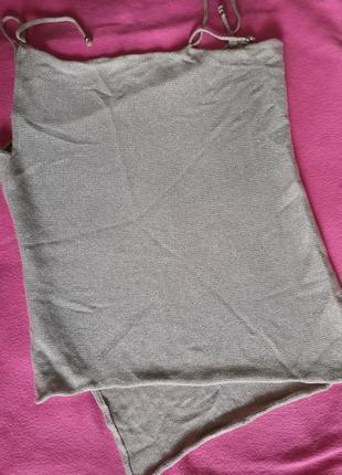Вязаная ассиметричная майка топ блуза с блестящей нитью