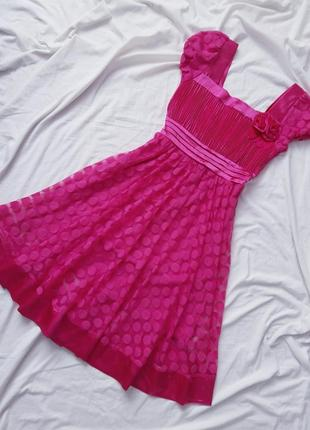 Плаття в горох міді фуксія
