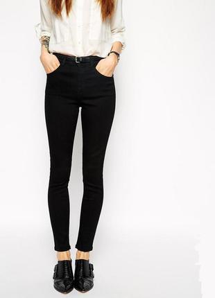Стильные черные джинсы скинни высокая талия, высокая посадка, американки  26р.