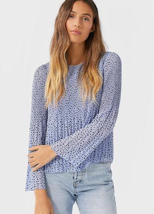 Шифоновая блуза с плиссировкой stradivarius размер s