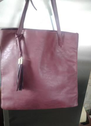 Большая и стильная в марсаловом цвете сумка atmosphere