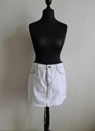 Белая джинсовая юбка zara
