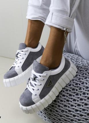 Стильные женские криперы кроссовки белые комбинированые