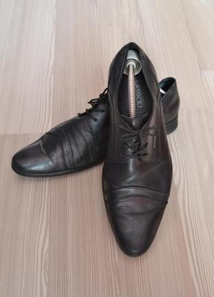 Черные кожаные vera pelle модельные туфли lasocki- италия - 40,41р. стелька-27,5см