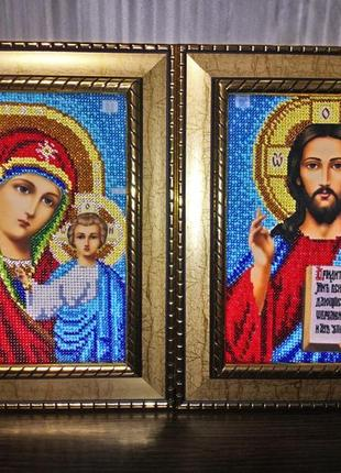Венчальные иконы, пара вышивка блестящим чешским бисеров