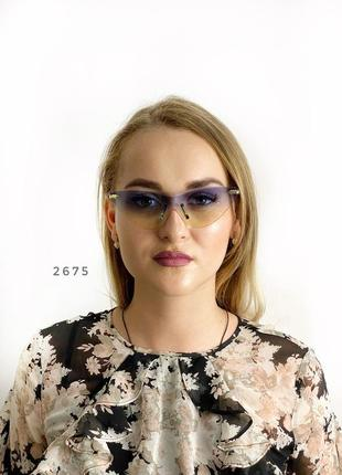 Стильні сонцезахисні окуляри без оправи синьо-жовті к. 2675
