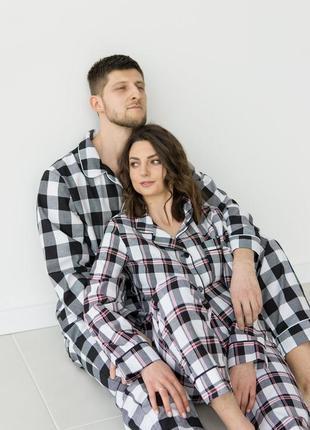 Стильна котонова піжама клітинка, домашній костюм, штани і сорочка, family look
