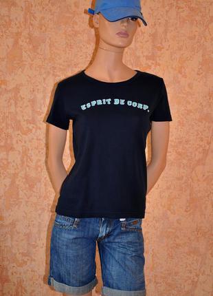 Темно-синяя футболка esprit 44-46 размер,100% коттон