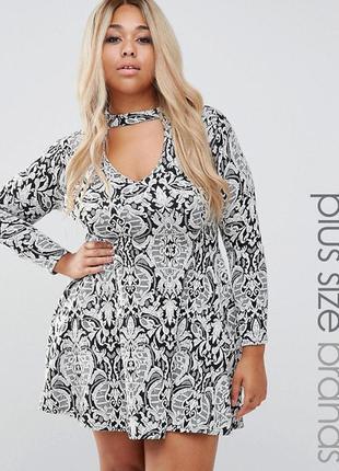 Новорічний розпродаж !жаккардовое короткое приталенное платье с вырезом