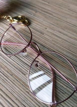 Стильные имиджевые очки розовое золото