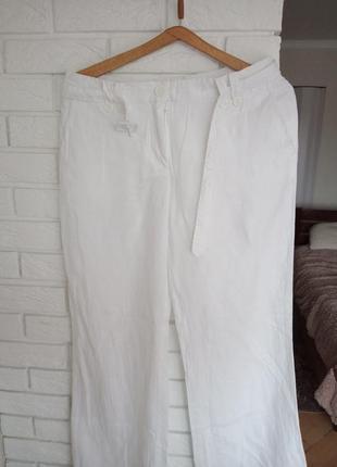 Белые льняные штаны h&m