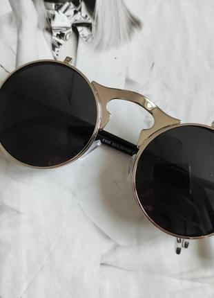 Очки круглые панк двойной флипчёрный в серебре