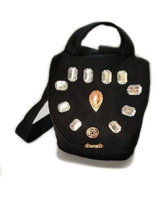 Джинсовий рюкзак з блискучим камінням ручної роботи