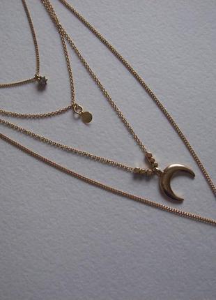 Колье ожерелье подвеска в четыре ряда полумесяц цепочка